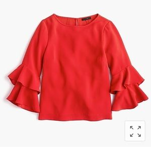 J Crew Lana Bell Sleeve blouse Red size 12